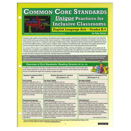 CCSS unique practices English language arts grades k-5