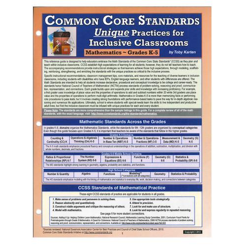 CCSS unique practices math grades k-5