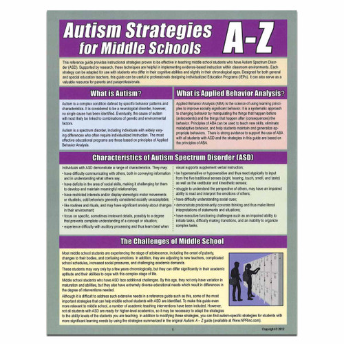 middle school autism strategies reference guide