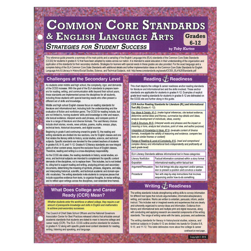 common core standards and English language arts grades 6-12