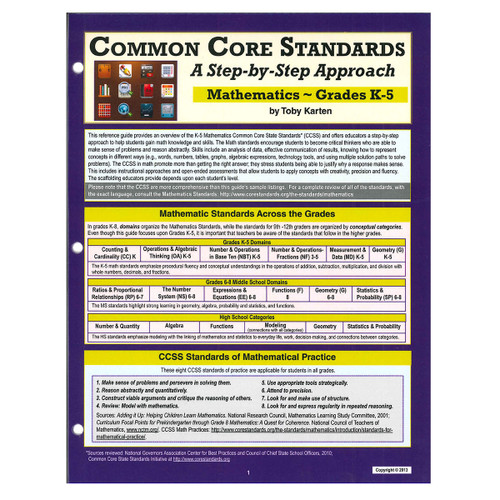 common core standards and math grades k-5