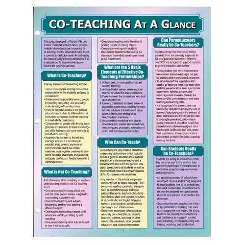 co-teaching at a glance reference guide