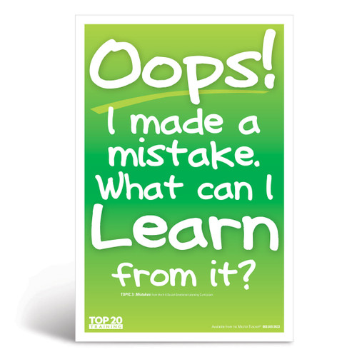 Social-emotional learning poster: Oops! I made a mistake. What can I learn from it?