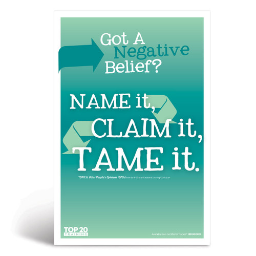 Social-emotional learning poster: Got a negative belief? Name it, claim it, tame it
