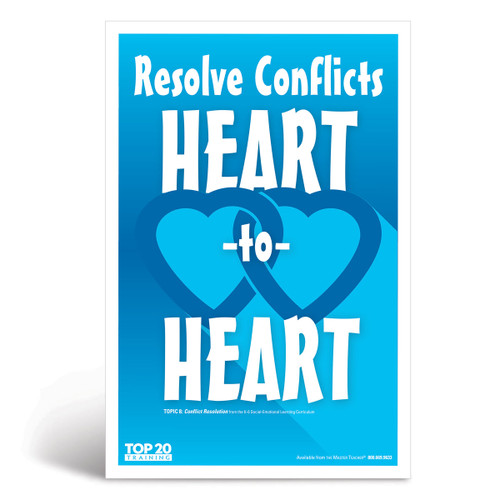 Social-emotional learning poster: Resolve conflicts heart-to-heart