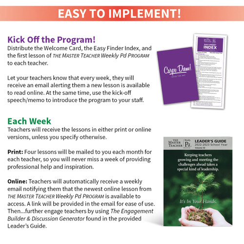 Resources you receive with program: leader's guide, welcome card, and easy finder index.