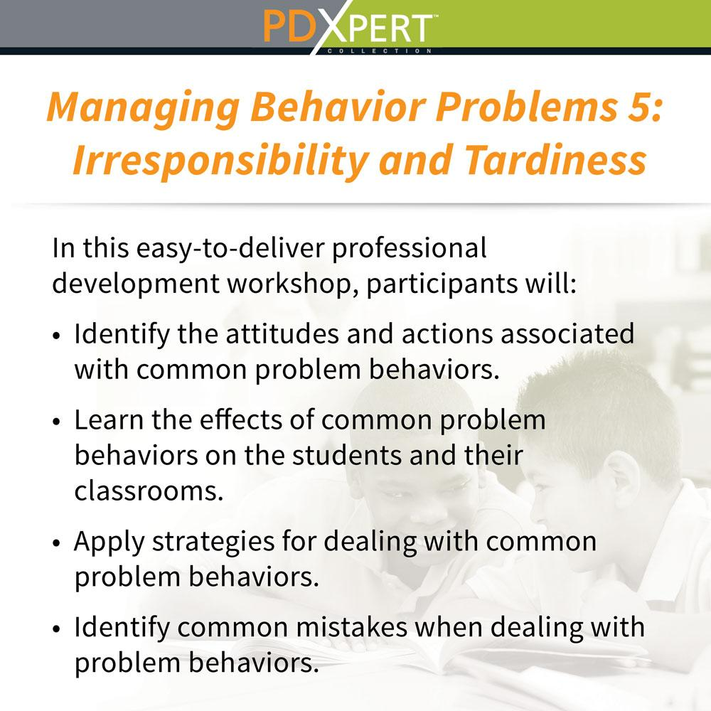 Ready-to-Use Inservice Workshops on Behavior: Irresponsibility and Tardiness