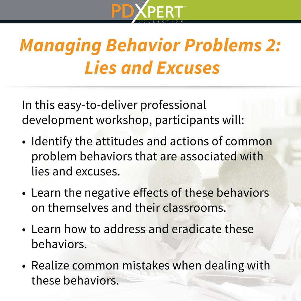 Ready-to-Use Inservice Workshops on Behavior: Lies and Excuses